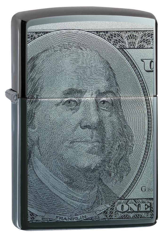Zippo Lighter: Hundred Dollar Bill - Black Ice 49025