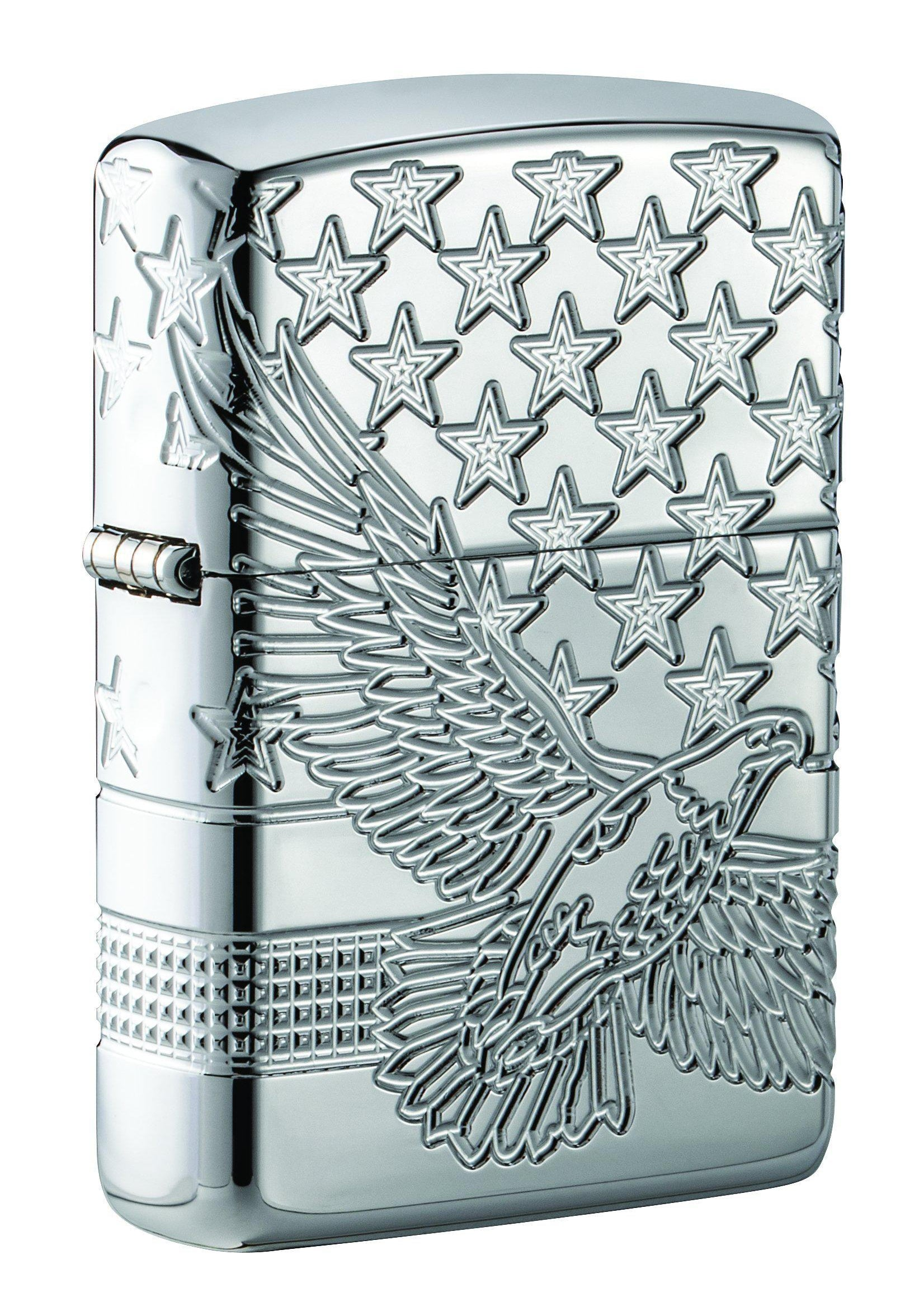 Zippo Lighter: Armor MultiCut Patriotic Eagle - High Polish Chrome 49027