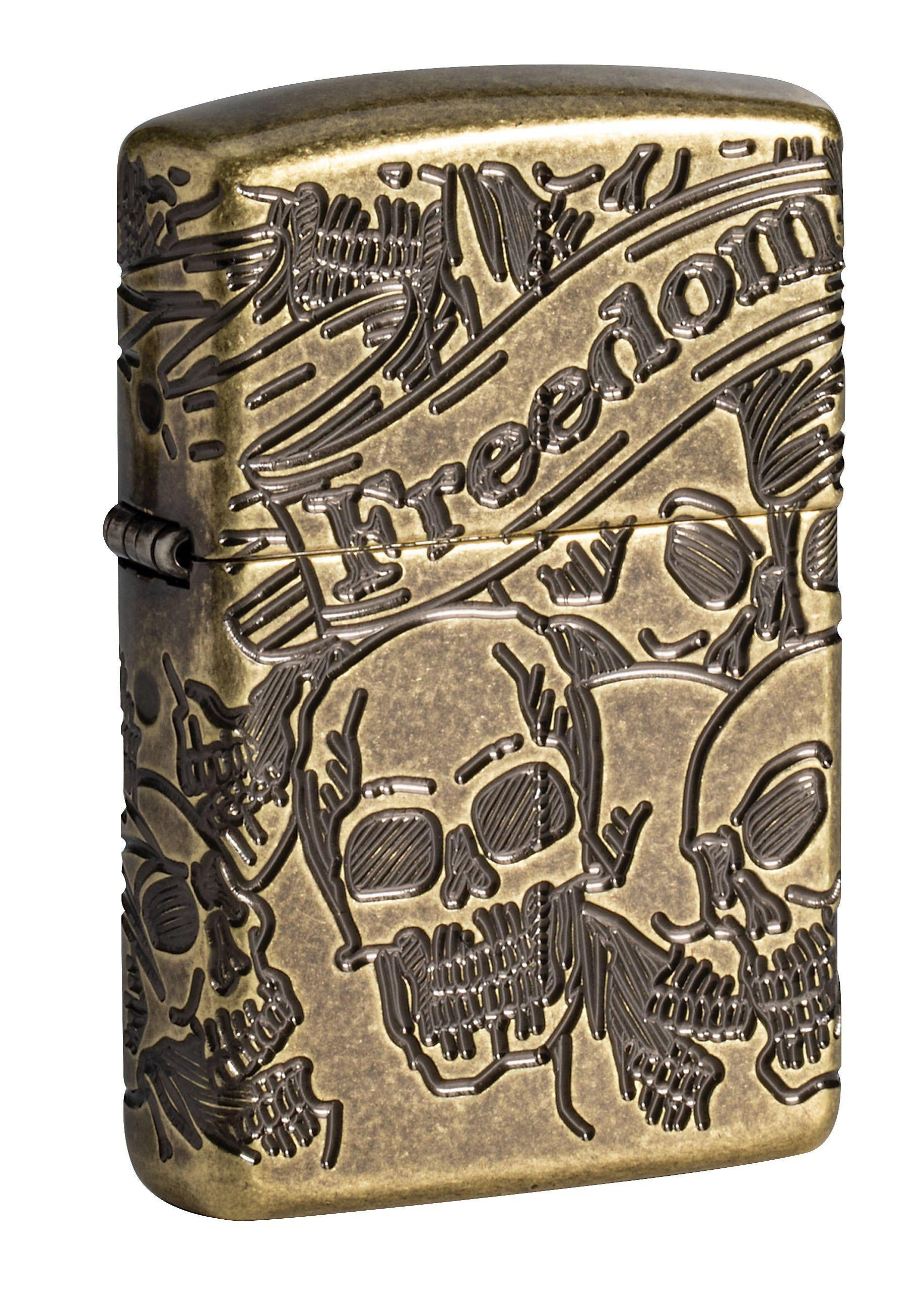 Zippo Lighter: Armor MultiCut Freedom Skulls - Antique Brass 49035
