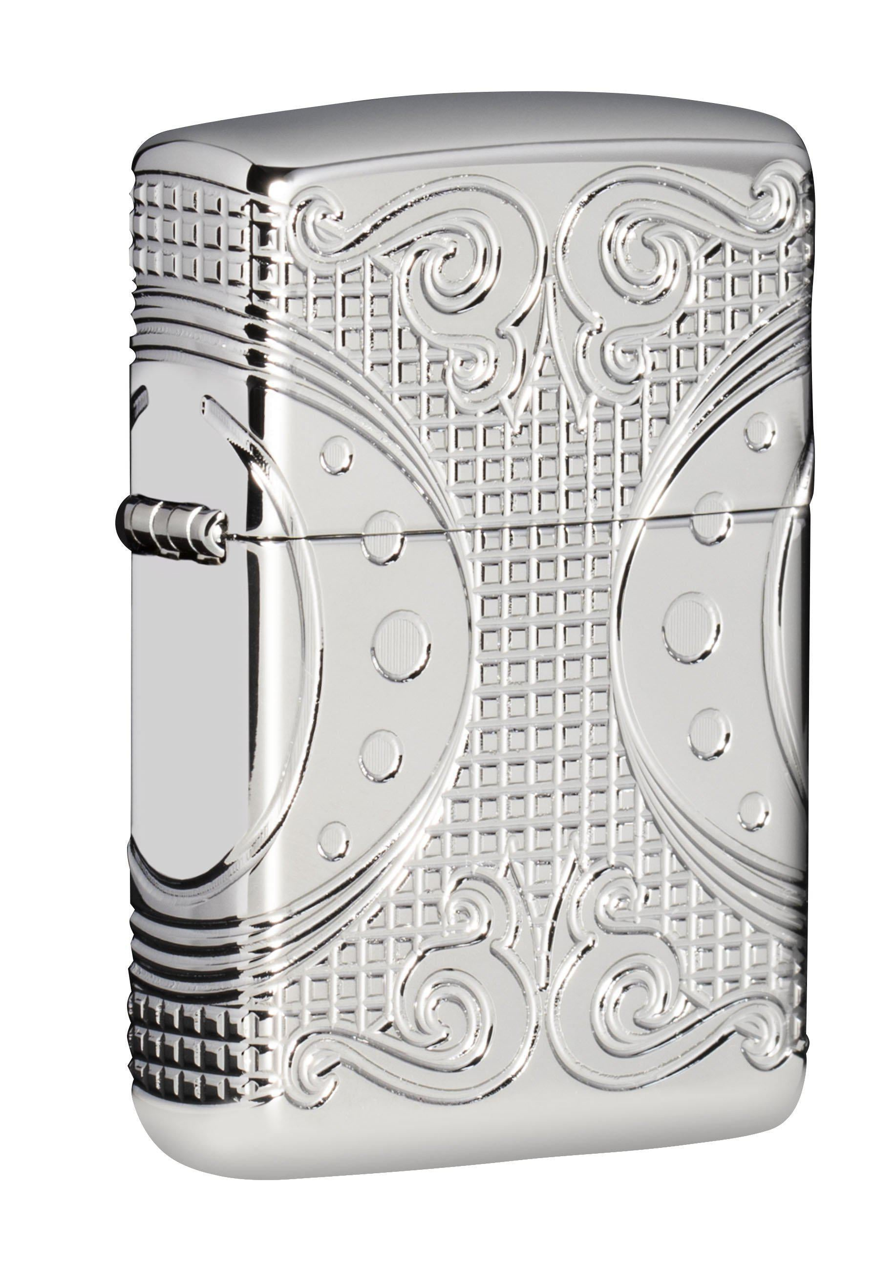Zippo Lighter: Armor MultiCut Geometric Space  - High Polish Chrome 49037