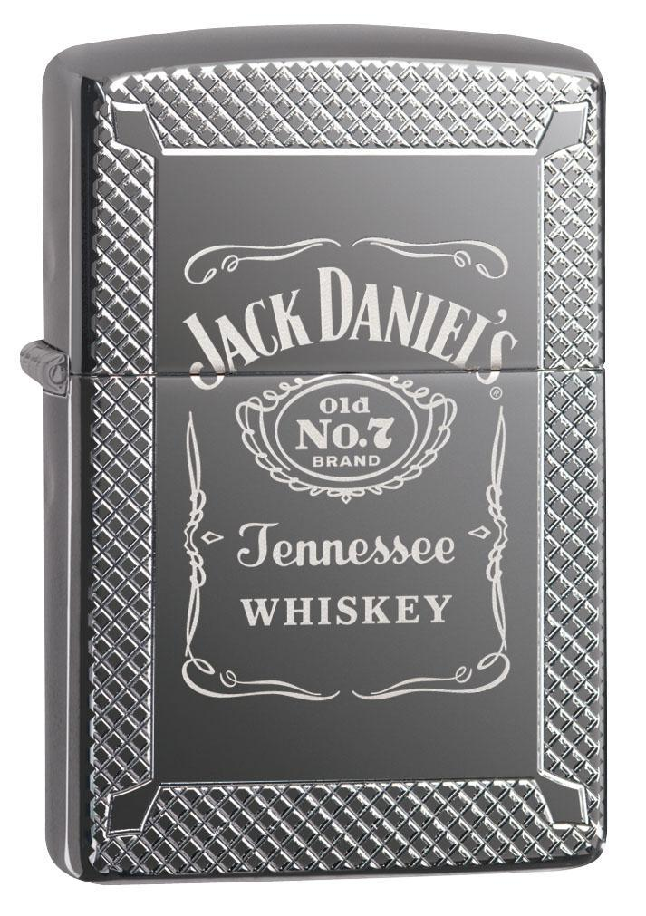 Zippo Lighter: Armor Jack Daniels Old No. 7 - High Polish Black Ice 49040