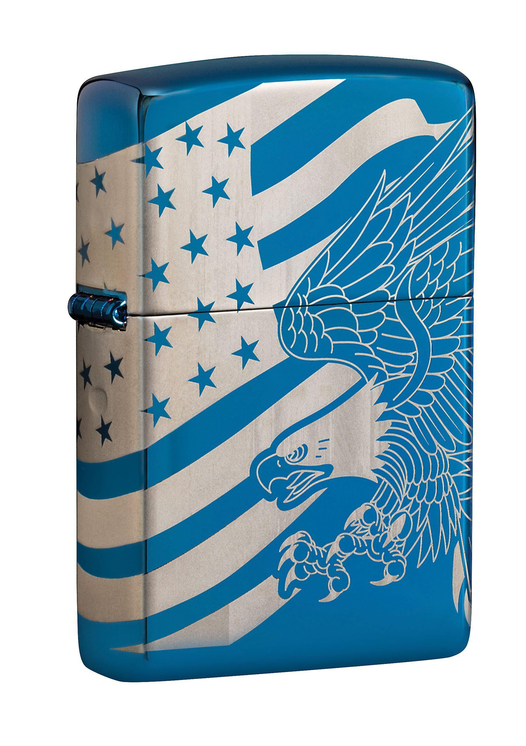 Zippo Lighter: Patriotic Eagle and Flag, 360 Degree - High Polish Blue 49046