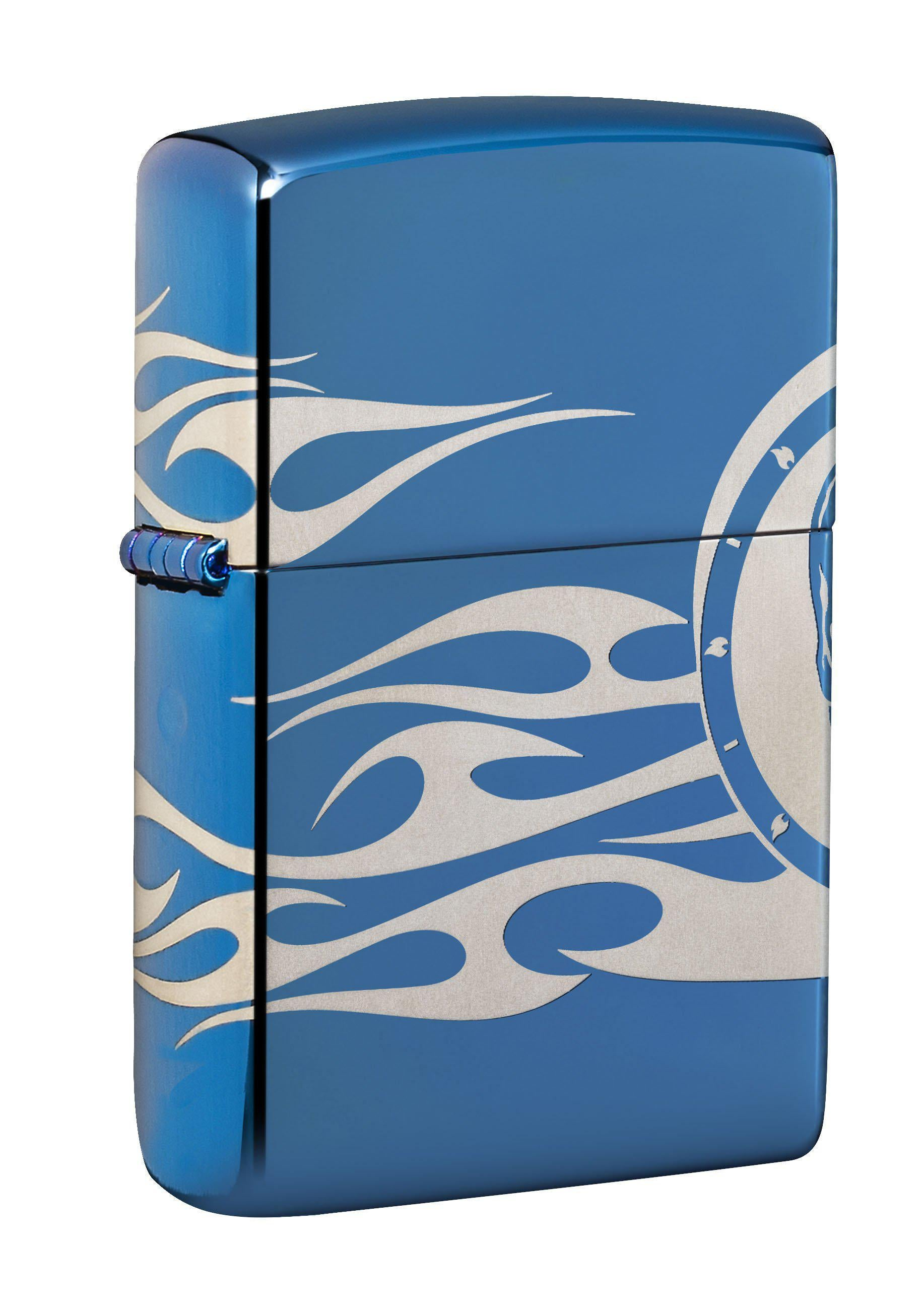 Zippo Lighter: Skull and Tattoo, 360 Degree - High Polish Blue 49048
