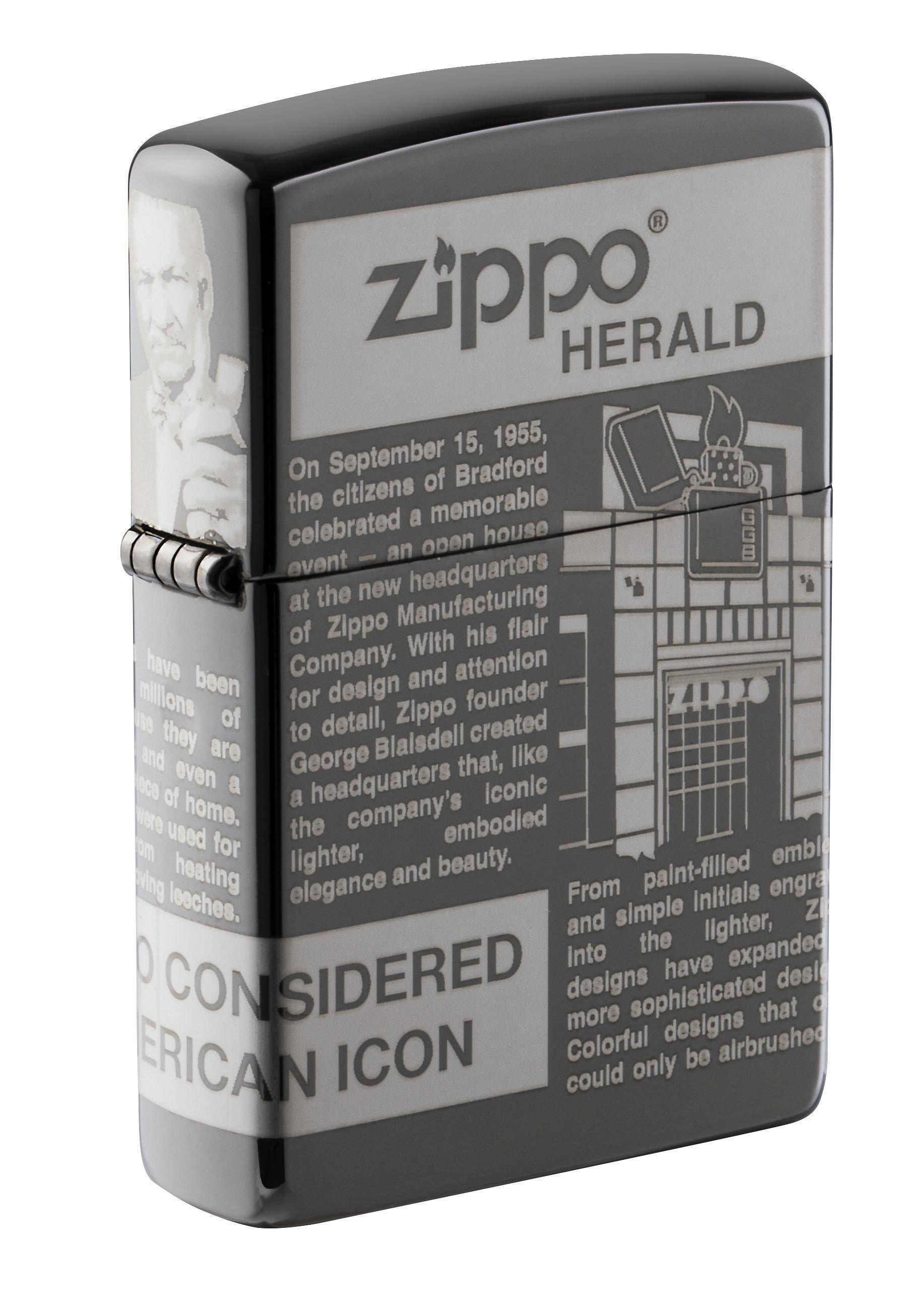 Zippo Lighter: Newsprint Design, 360 Degree Laser - Black Ice 49049