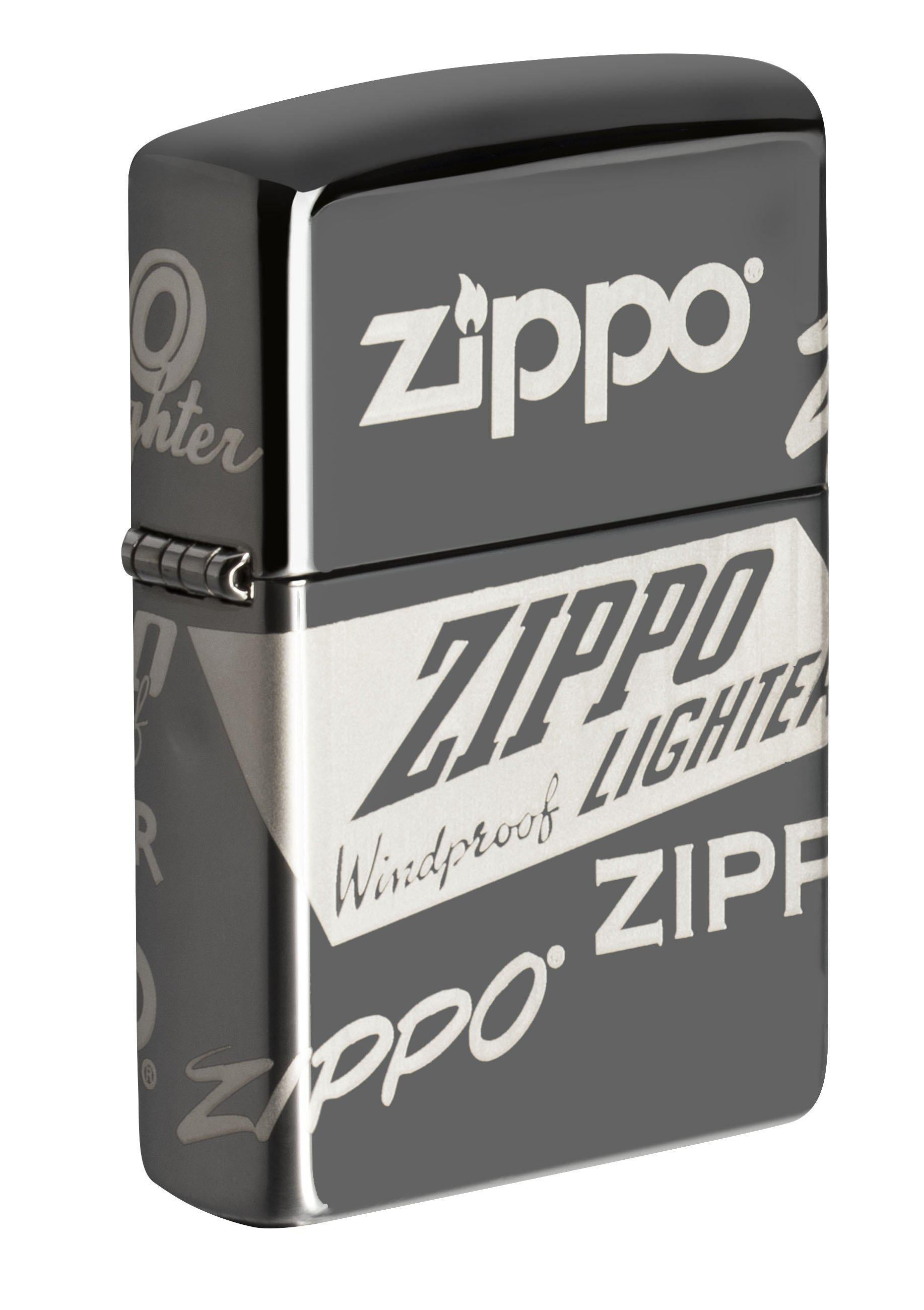 Zippo Lighter: Logo Design, 360 Degree Laser - Black Ice 49051
