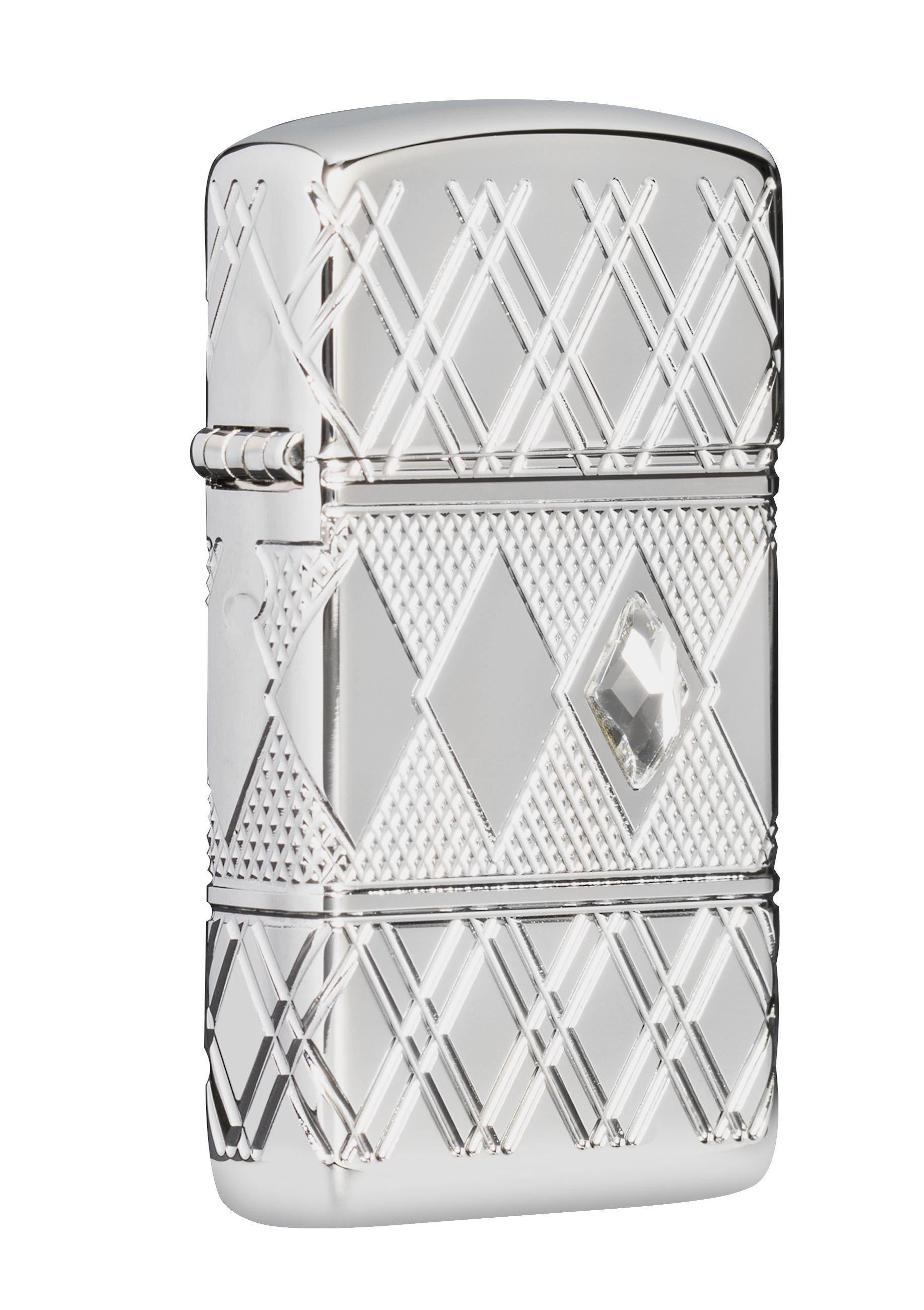 Zippo Lighter: Slim Armor MultiCut Diamond Pattern - High Polish Chrome 49052