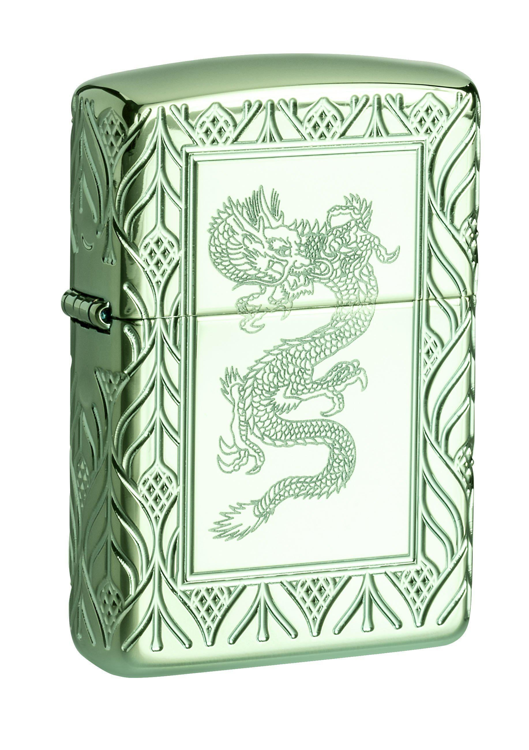 Zippo Lighter: Armor MultiCut Elegant Dragon - High Polish Green 49054