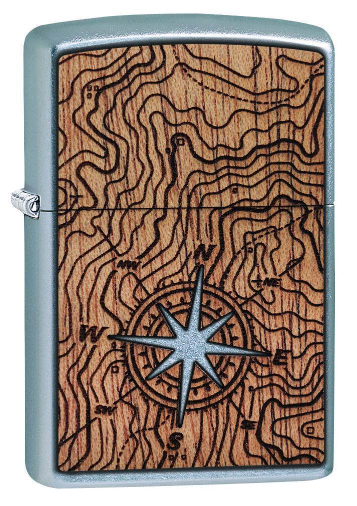 Zippo Lighter: Woodchuck Compass - Street Chrome 49055