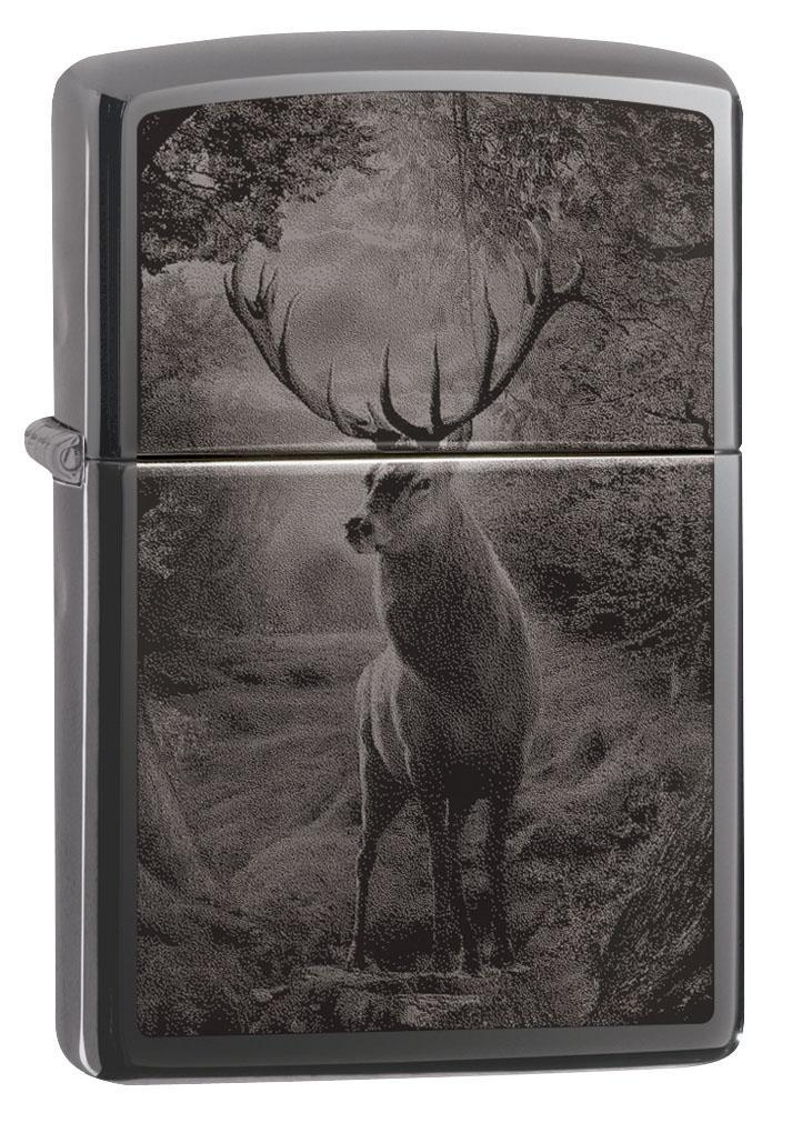 Zippo Lighter: Deer Design, Photo Image - Black Ice 49059