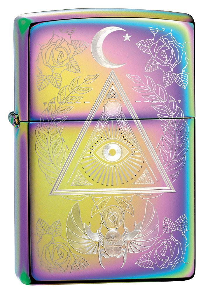 Zippo Lighter: Eye of Providence Engraved - Spectrum 49061