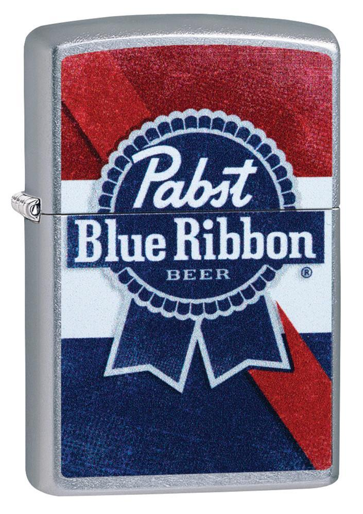 Zippo Lighter: Pabst Blue Ribbon Beer Logo - Street Chrome 49077 (4255711494259)