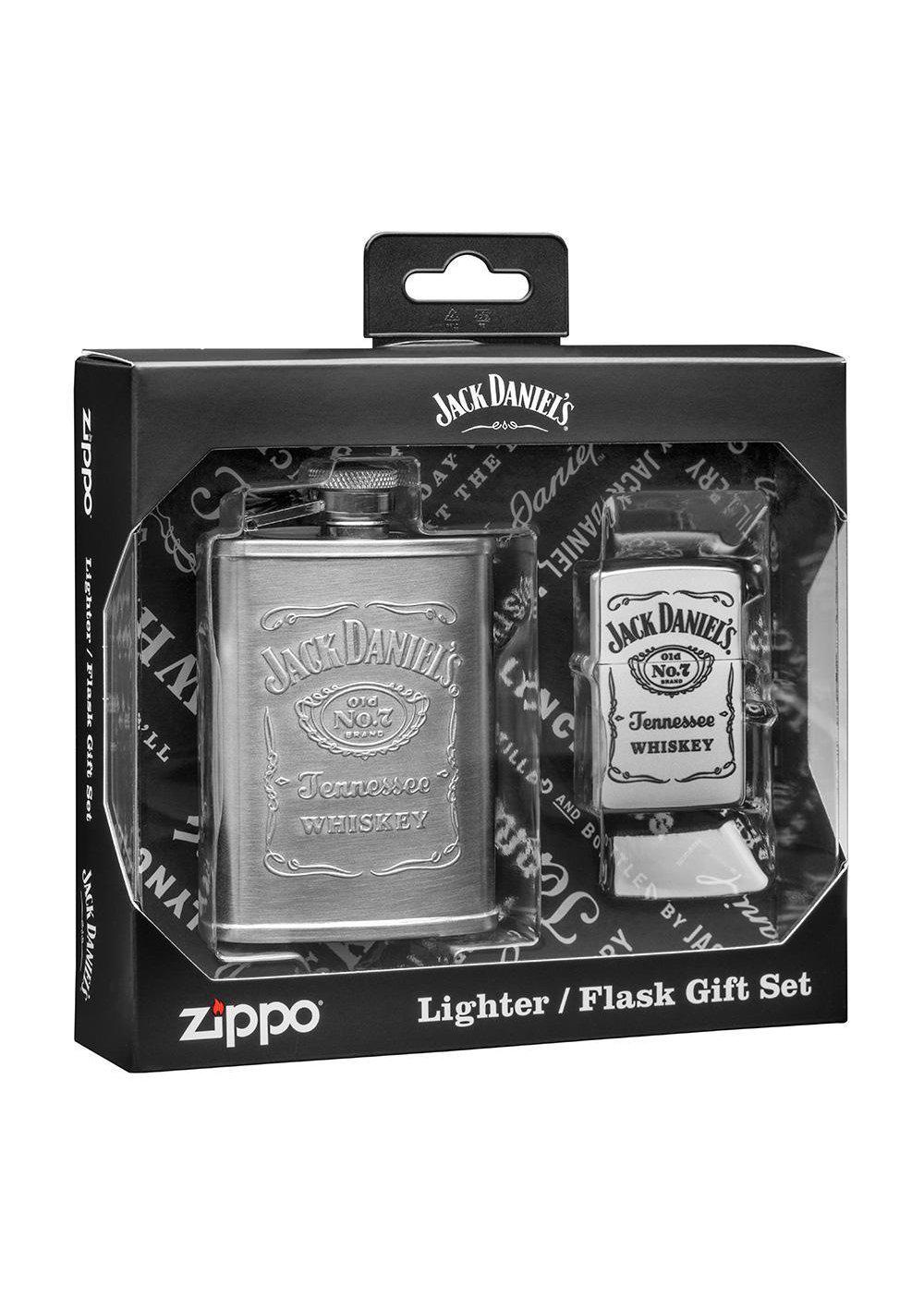 Zippo Jack Daniels Satin Chrome Lighter and Flask Gift Set 49080 (4255711592563)