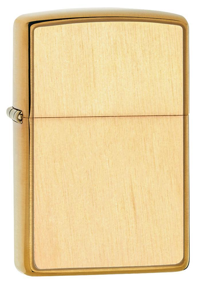 Zippo Lighter: Woodchuck Birch Emblem - Brushed Brass 49082