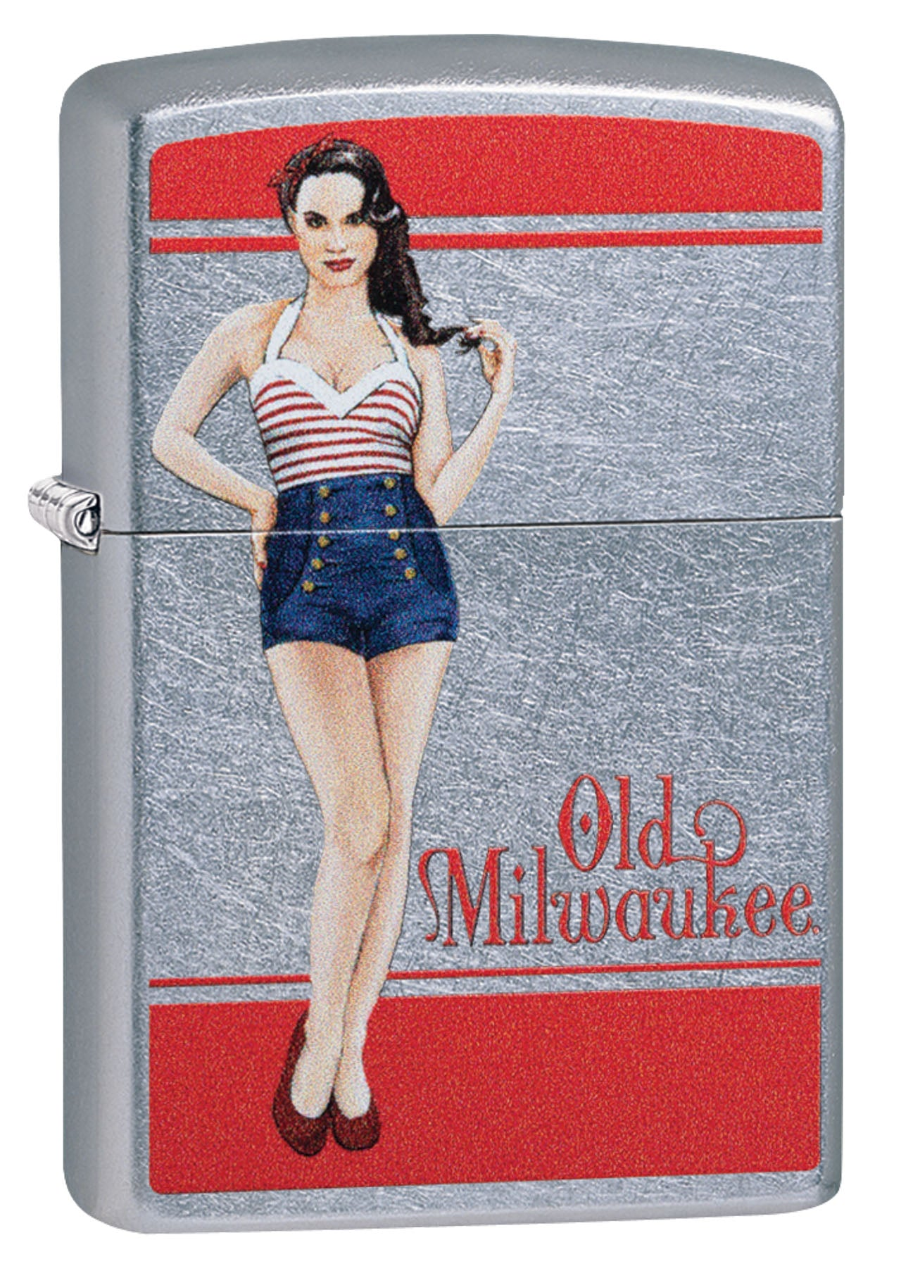 Zippo Lighter: Old Milwaukee Beer Pin-up Girl - Street Chrome 49094 (4555555143773)