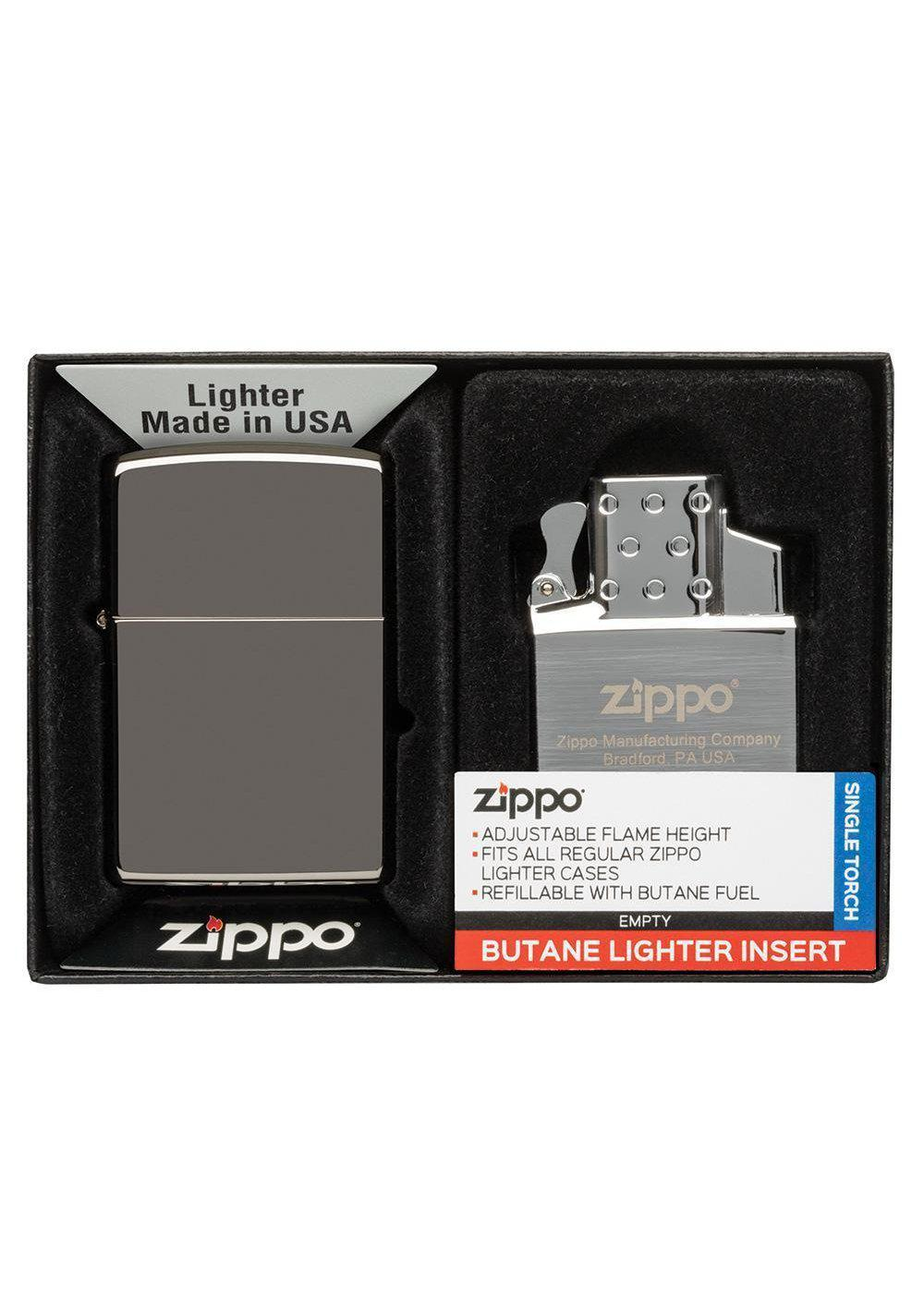 Zippo Black Ice Lighter and Single Butane Insert Gift Set 49103