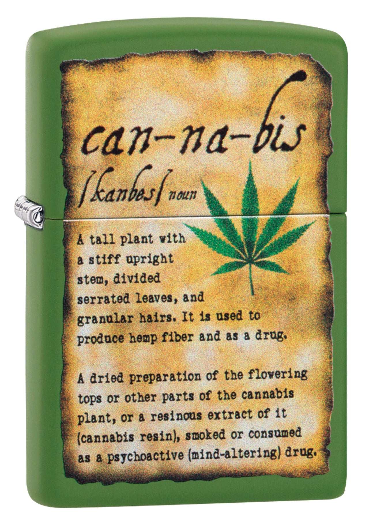Zippo Lighter: Cannabis Definition - Moss Green Matte 49119