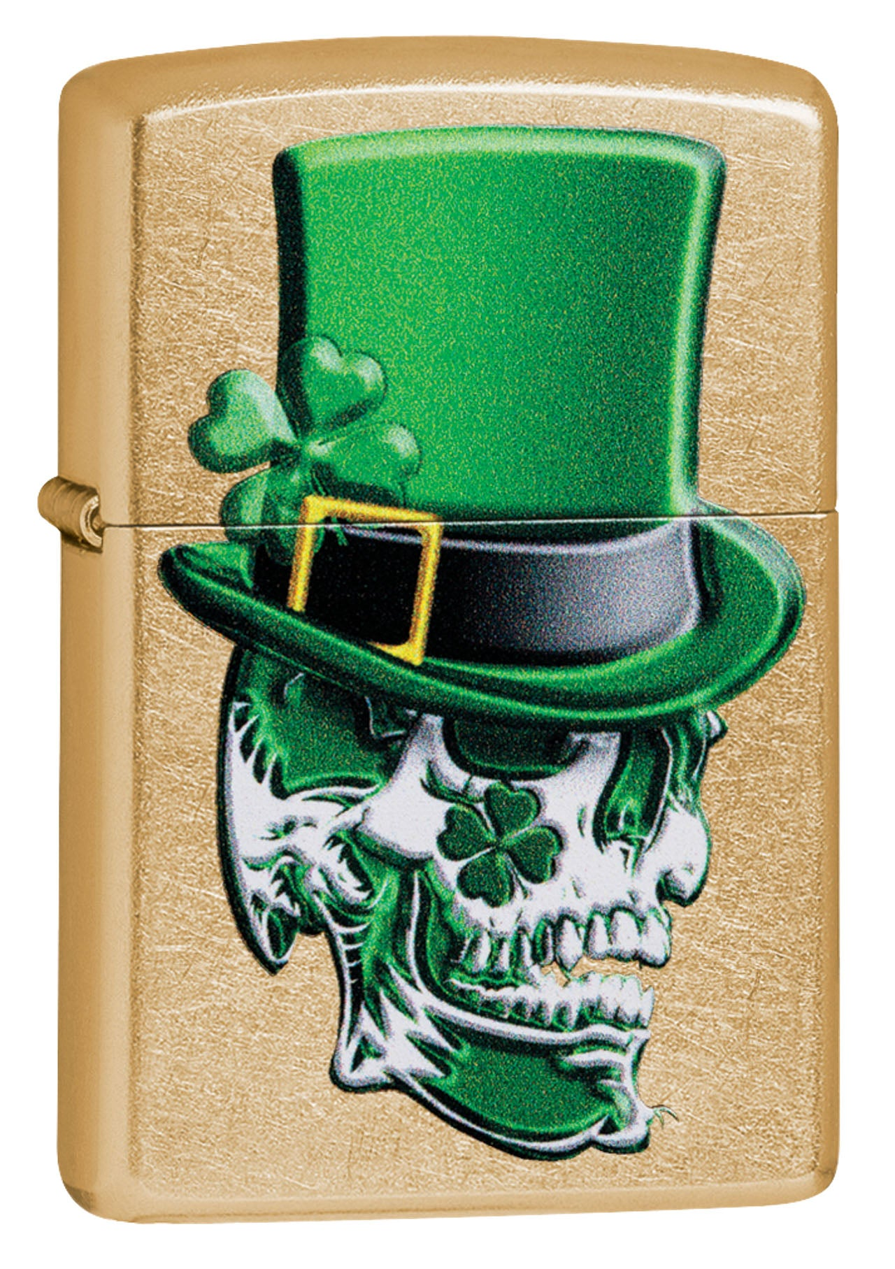 Zippo Lighter: Skull with Four Leaf Clovers - Gold Dust 49121