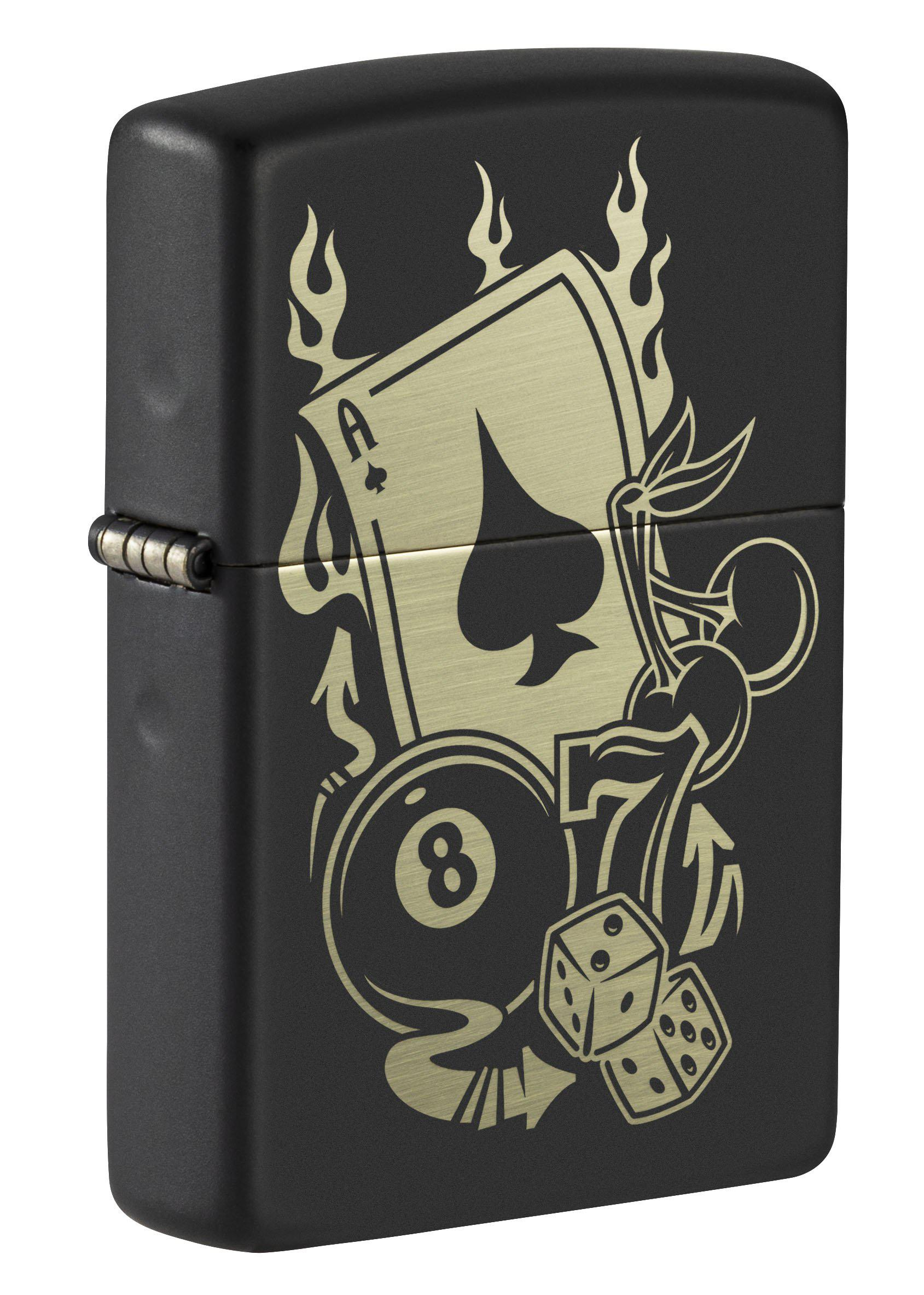Zippo Lighter: Gambling Icons, Engraved - Black Matte 49257