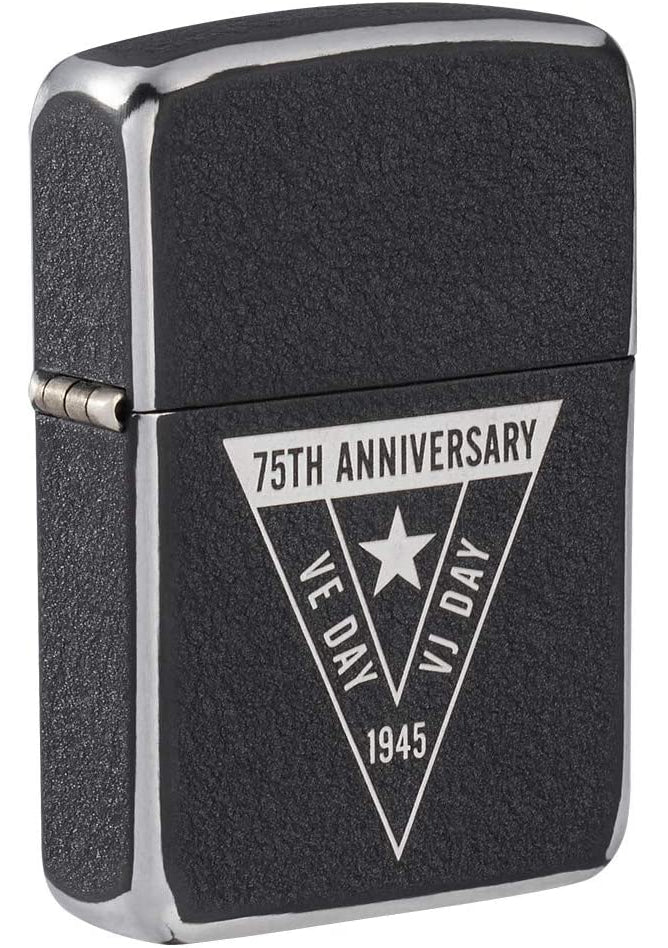 Zippo Lighter: VE/VJ 75th Anniversary Collectible - Black Crackle 49264