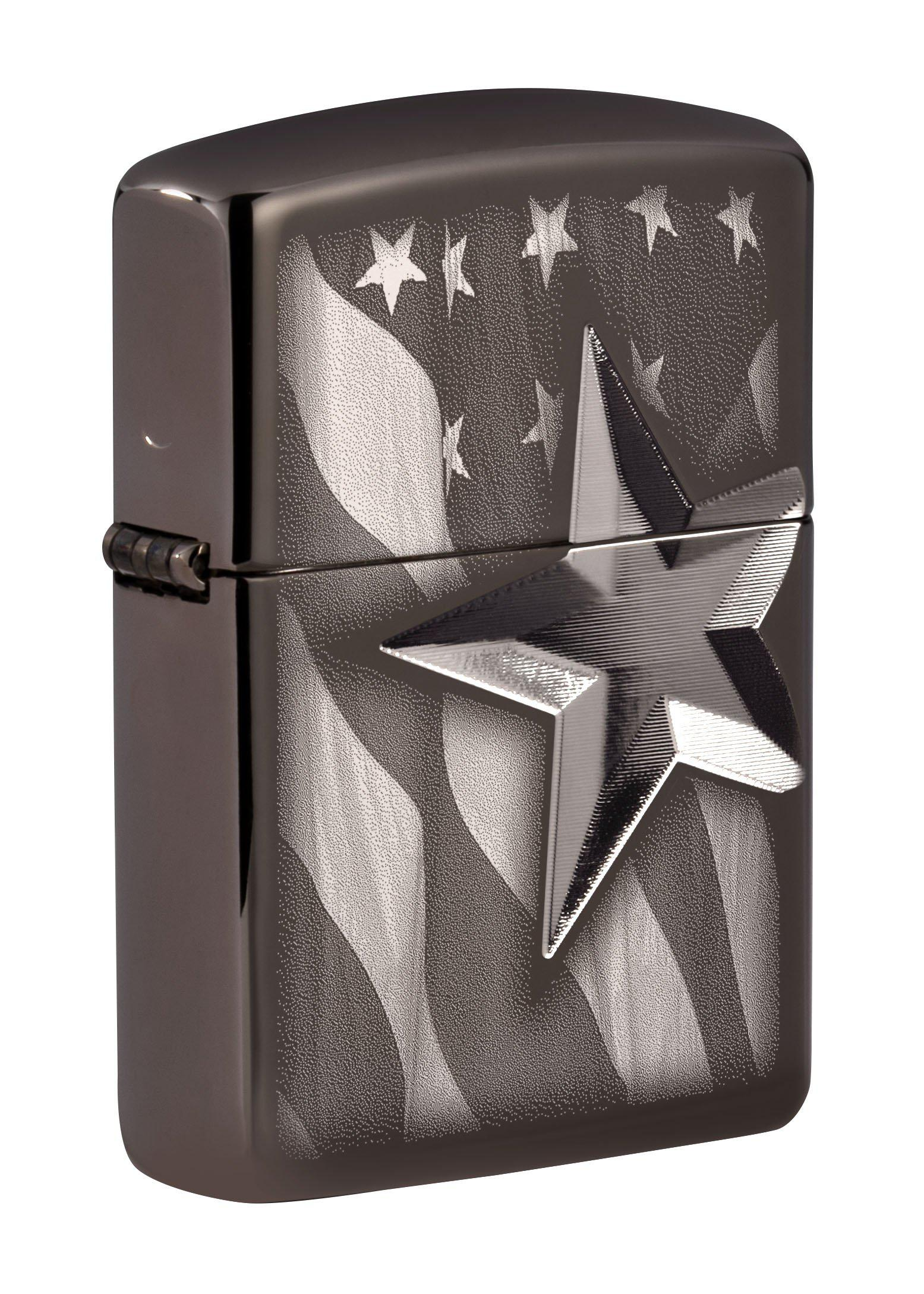 Zippo Lighter: Engraved Star on American Flag Armor  High Polish Black Ice 49350