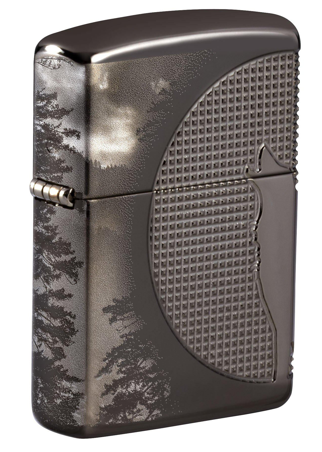 Zippo Lighter: Wolf Howling, Armor Multicut - High Polish Black Ice 49353