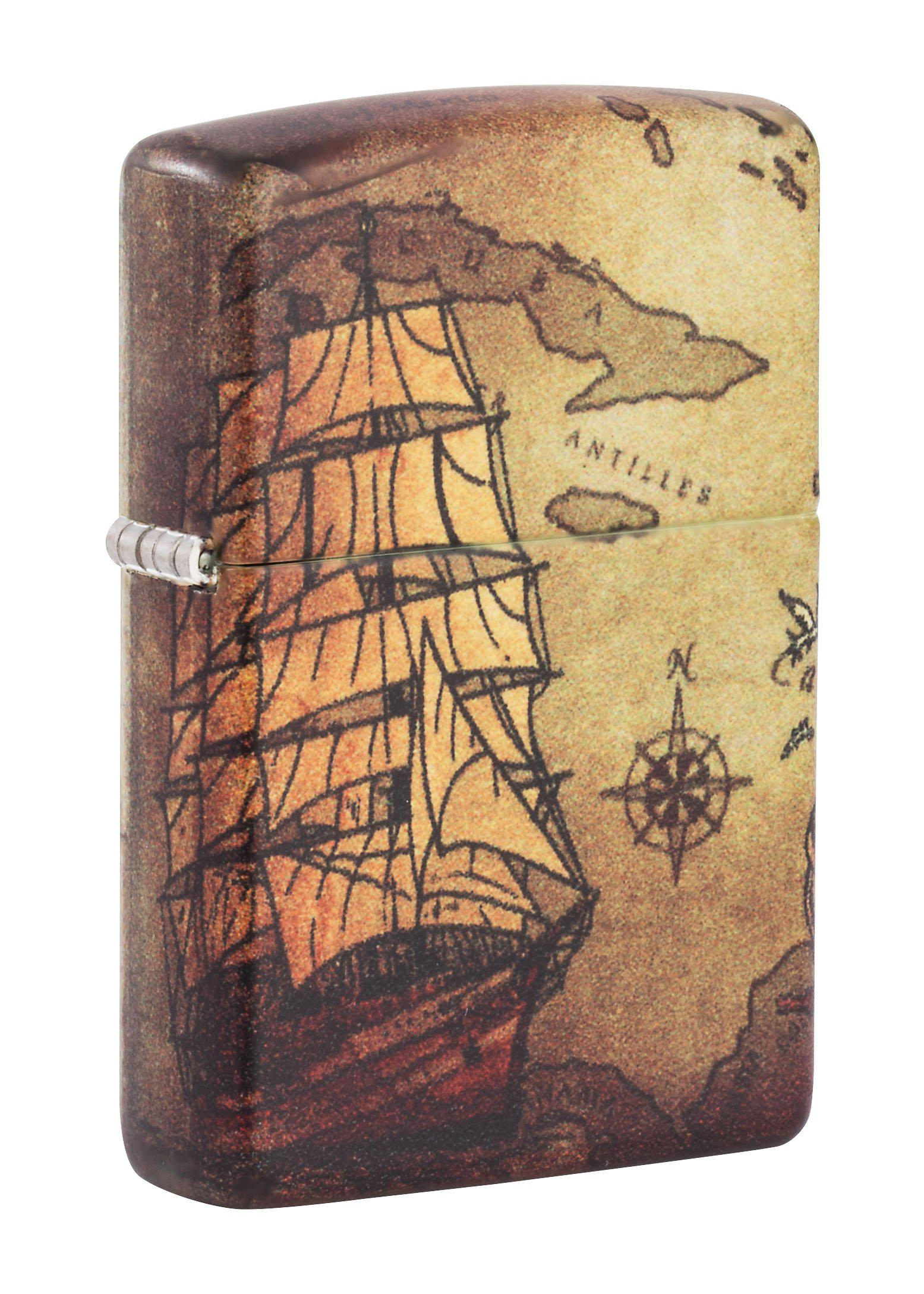 Zippo Lighter: Pirate Ship and Map, 540 Color - 49355