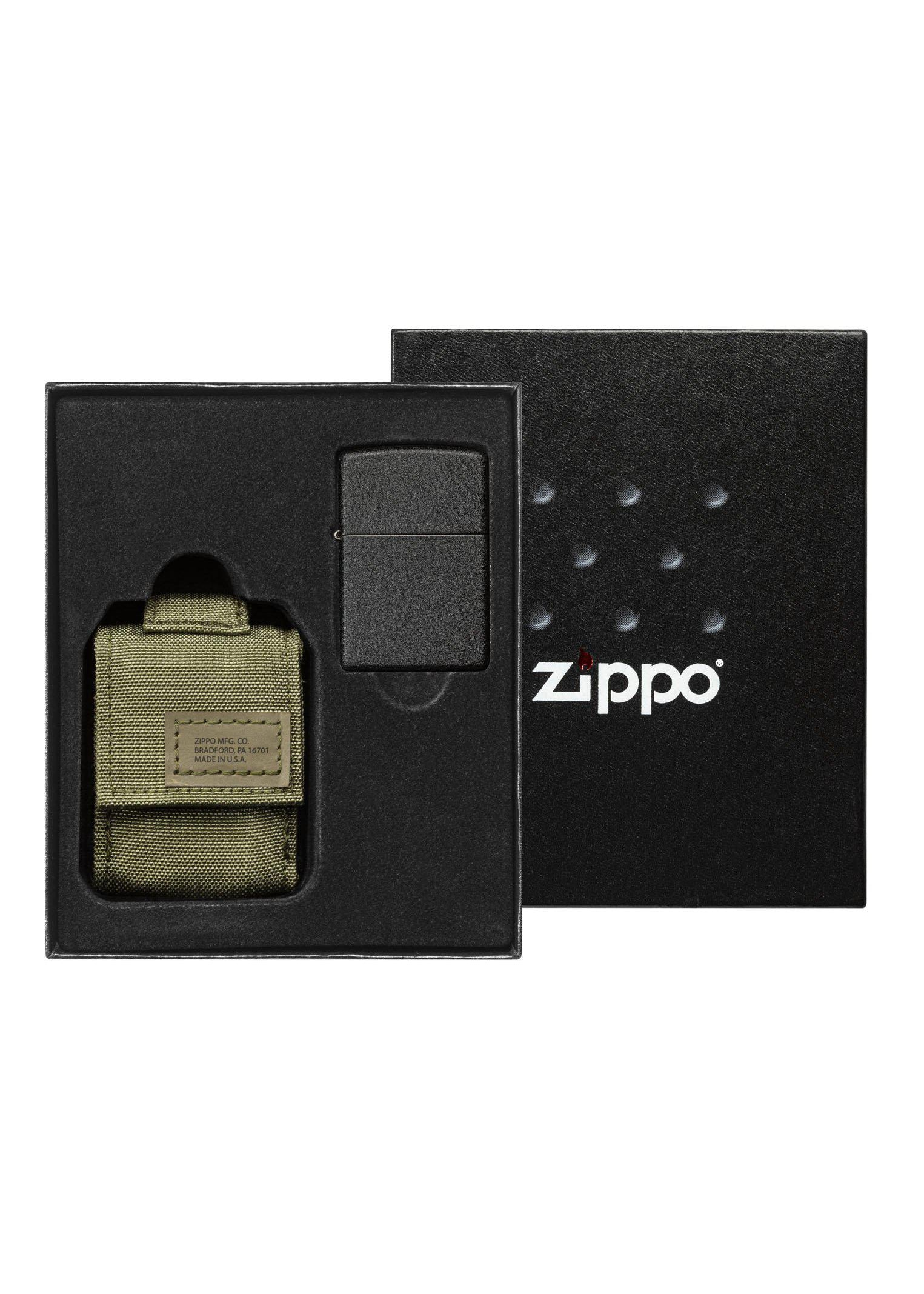 Zippo Black Crackle Lighter and Green MOLLE Pouch - 49400