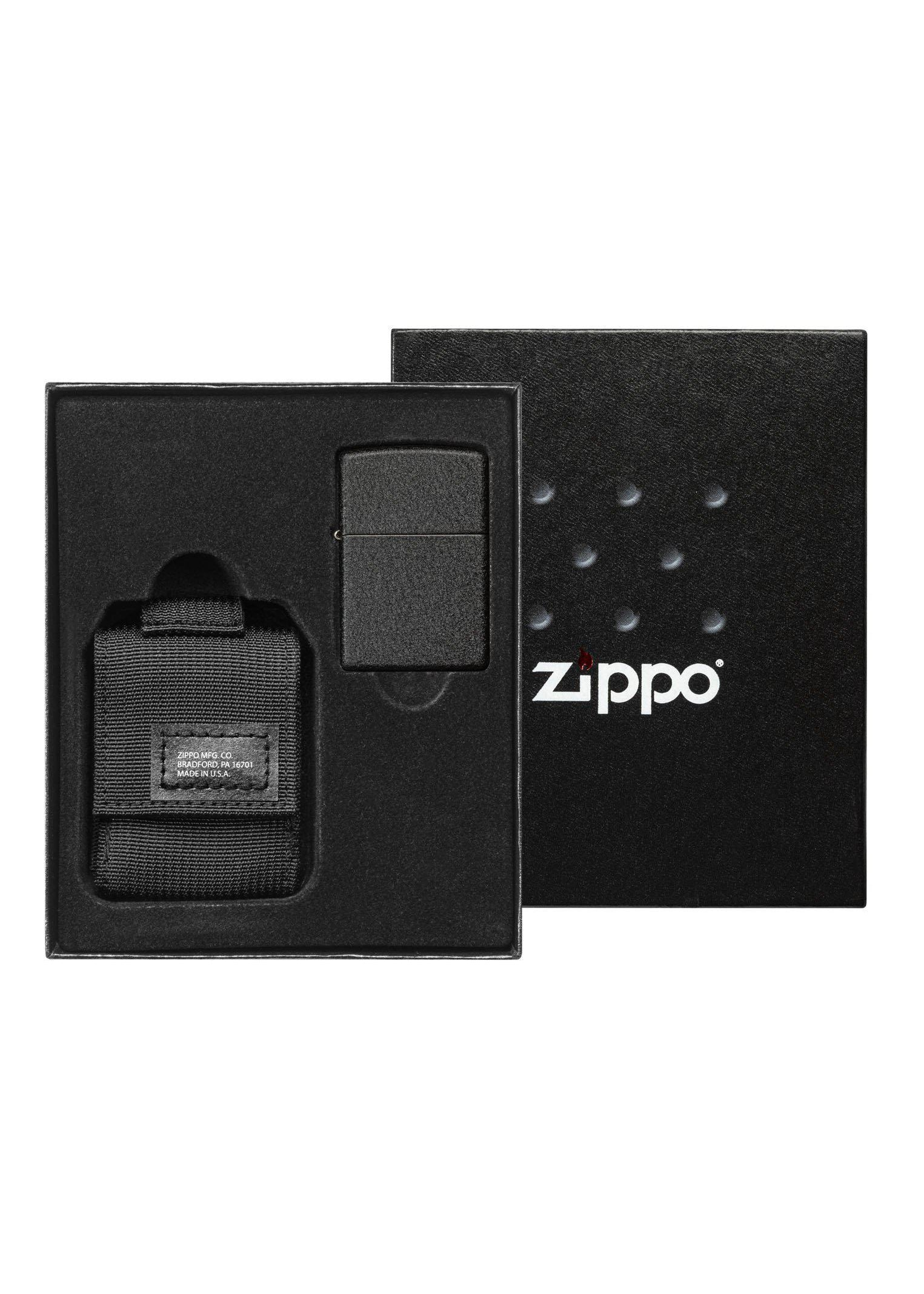 Zippo Black Crackle Lighter and Black MOLLE Pouch - 49402