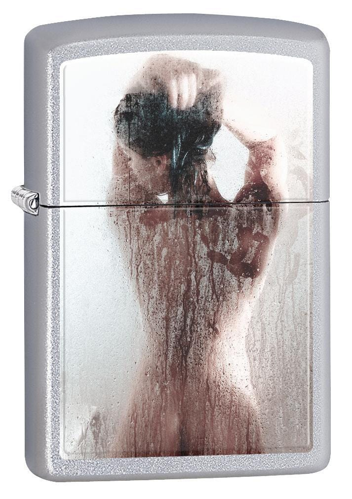Zippo Lighter: Nude Girl in the Shower - Satin Chrome 75348