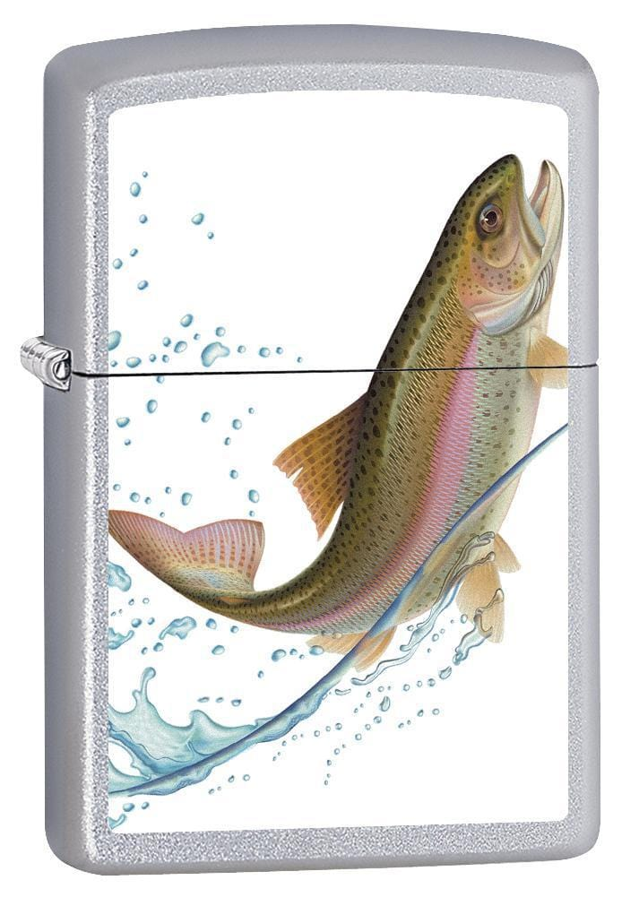 Zippo Lighter: Jumping Trout - Satin Chrome 75588 (1975567876211)