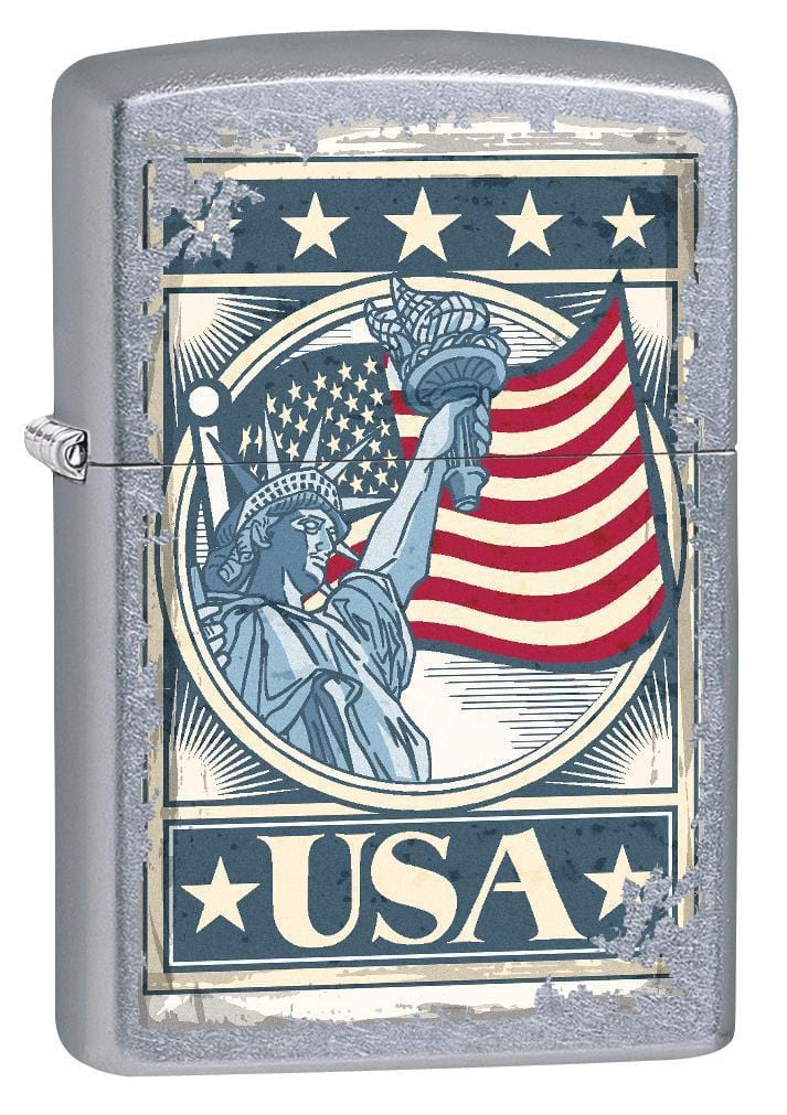 Zippo Lighter: Liberty Flag - Street Chrome 75666