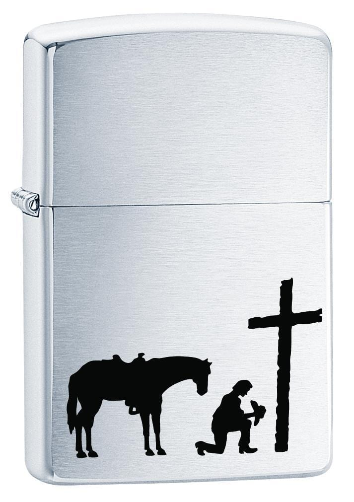 Zippo Lighter: Praying Cowboy - Brushed Chrome 75744