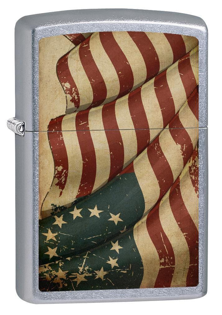 Zippo Lighter: 1776 American Flag - Street Chrome 76128 - Gear Exec
