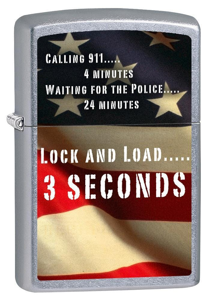 Zippo Lighter: Second Amendment, American Flag - Street Chrome 76581 (1975582523507)