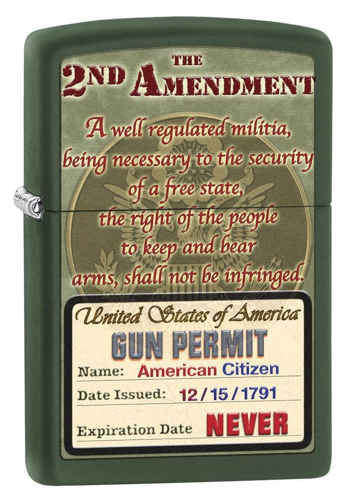 Zippo Lighter: Second Amendment Rights - Green Matte 76584 (1975582556275)