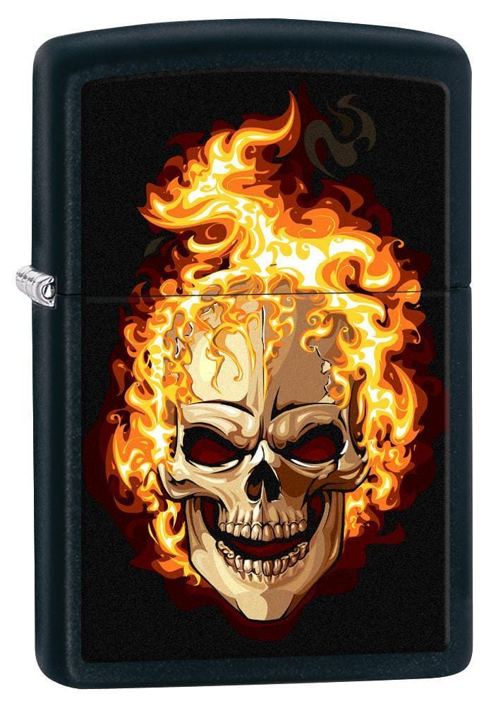 Zippo Lighter: Skull on Fire - Black Matte 76989 (1975588651123)