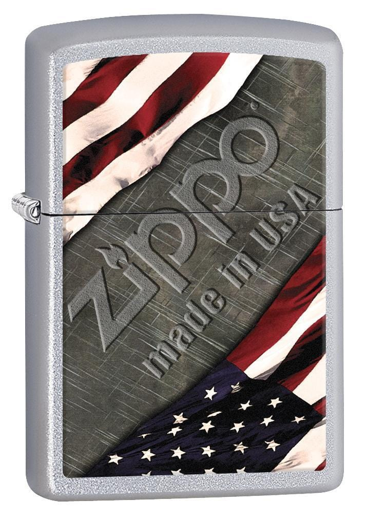 Zippo Lighter: American Flag and Metal - Satin Chrome 77001 - Gear Exec