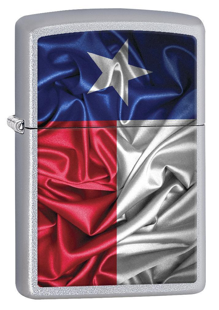 Zippo Lighter: Texas State Flag - Satin Chrome 77010
