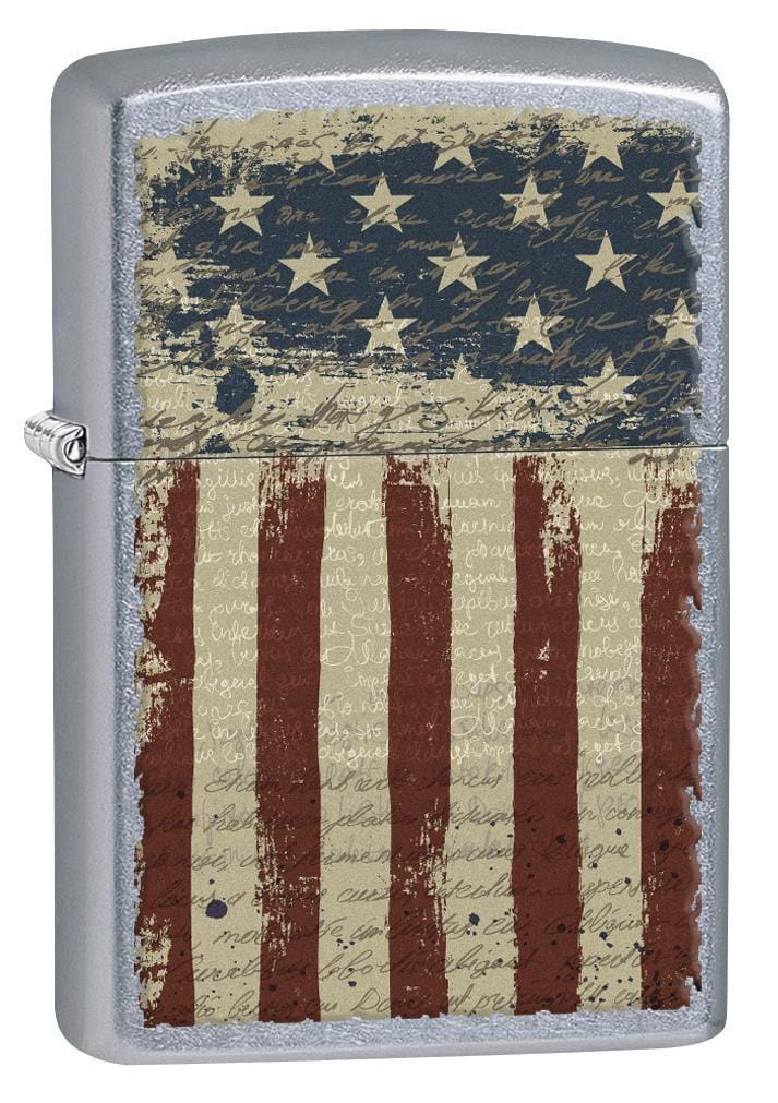 Zippo Lighter: Aged American Flag - Street Chrome 77091 - Gear Exec