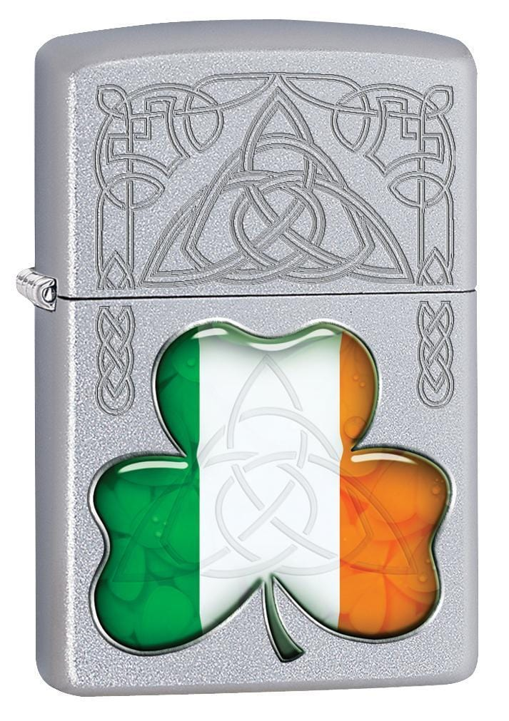 Zippo Lighter: Ireland Flag and Symbols - Satin Chrome 77118 - Gear Exec
