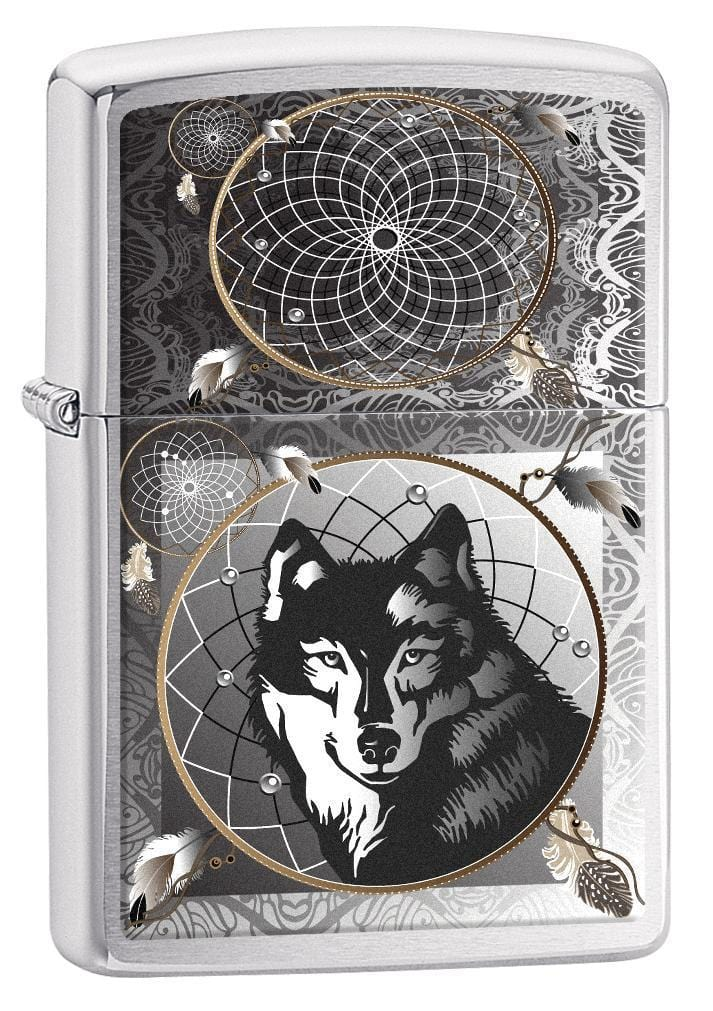 Zippo Lighter: Wolf Dreamcatcher - Brushed Chrome 77133