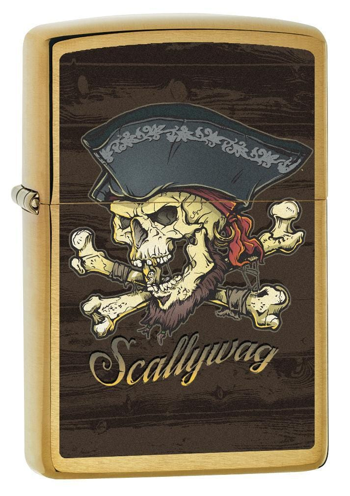 Zippo Lighter: Scallywag, Pirate Skull - Brushed Brass 77823