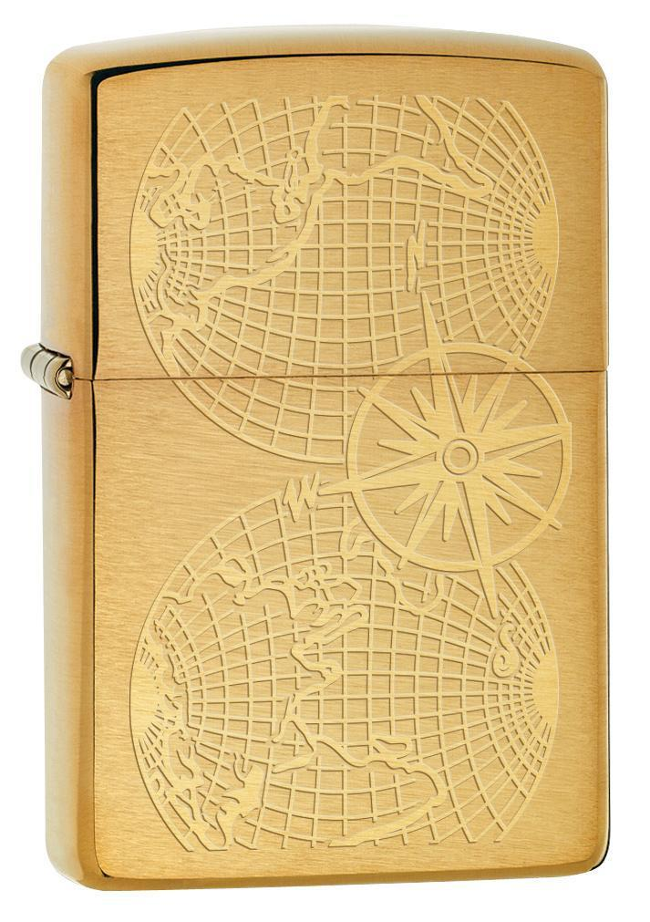 Zippo Lighter: Engraved World Map - Brushed Brass 78072 - Gear Exec