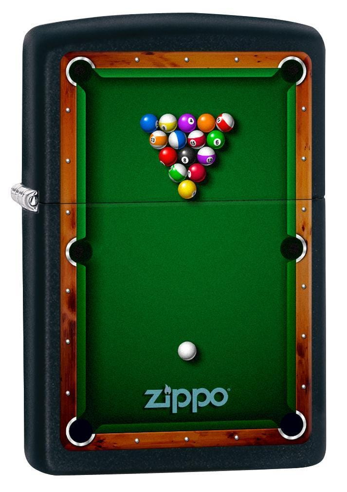 Zippo Lighter: Pool Table - Black Matte 78201 (1975605526643)