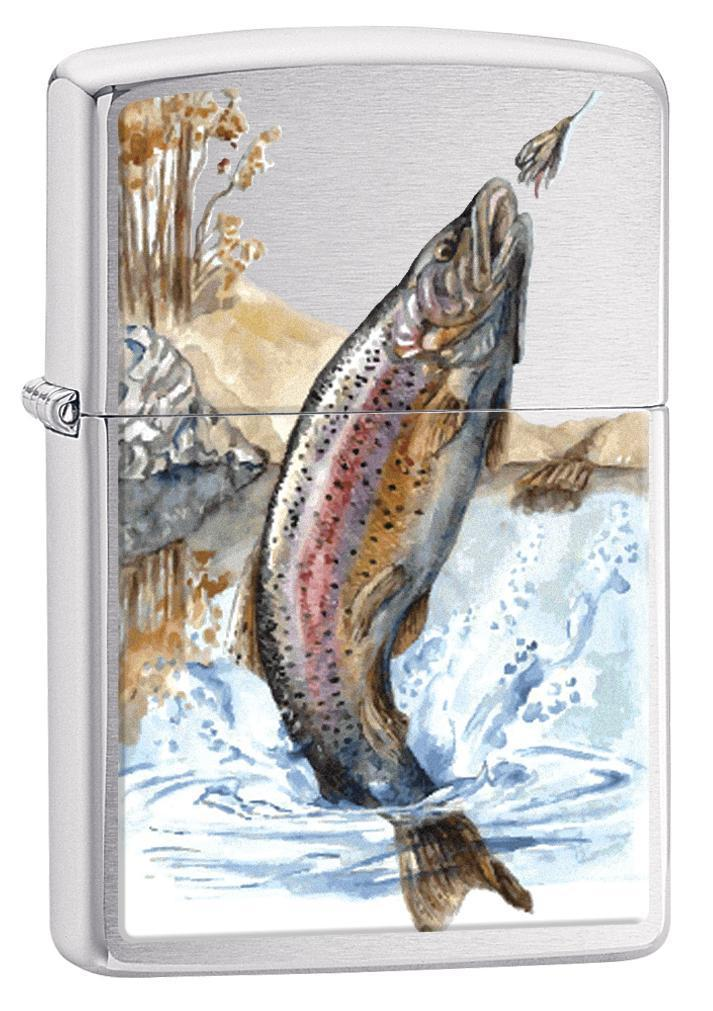 Zippo Lighter: Rainbow Trout Fishing - Brushed Chrome 78267 (1975606607987)