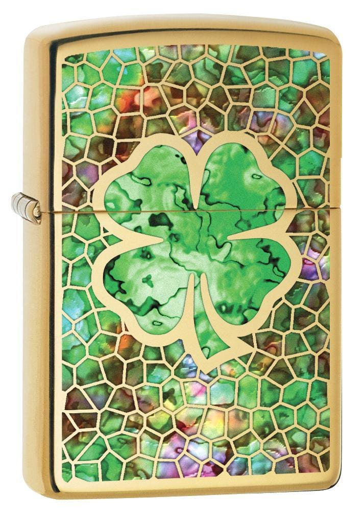 Zippo Lighter: Fusion Four Leaf Clover - High Polish Brass 78459 - Gear Exec (1975609491571)