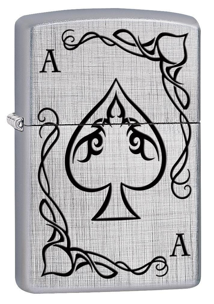 Zippo Lighter: Ace of Spades Playing Card - Linen Weave 78528 - Gear Exec
