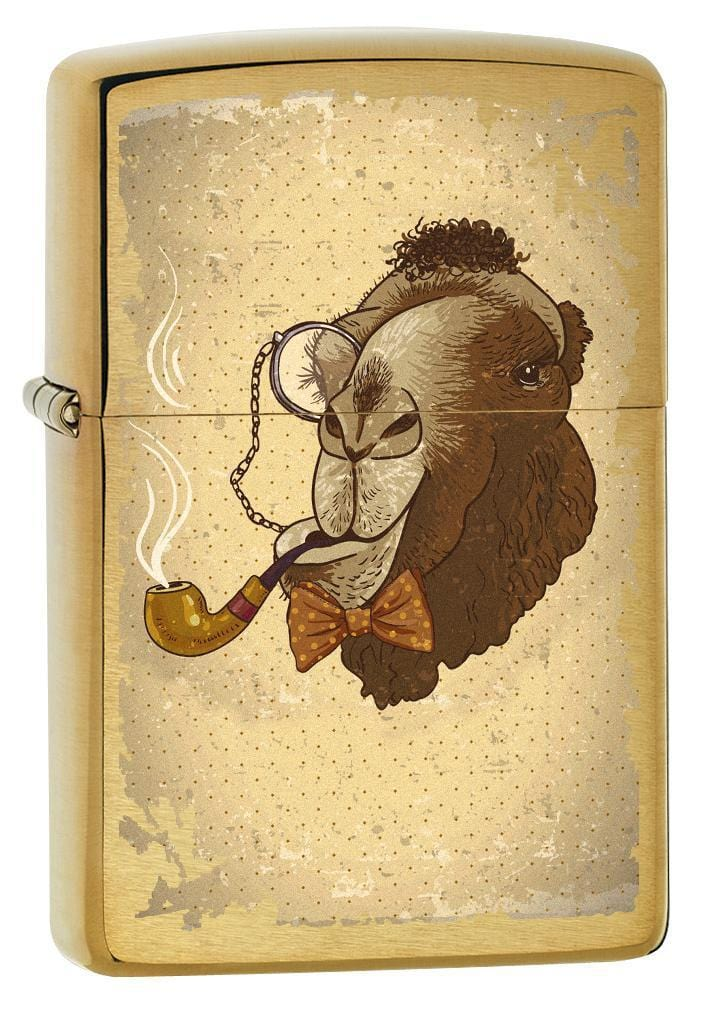 Zippo Lighter: Camel Smoking Pipe - Brushed Brass 78546 - Gear Exec