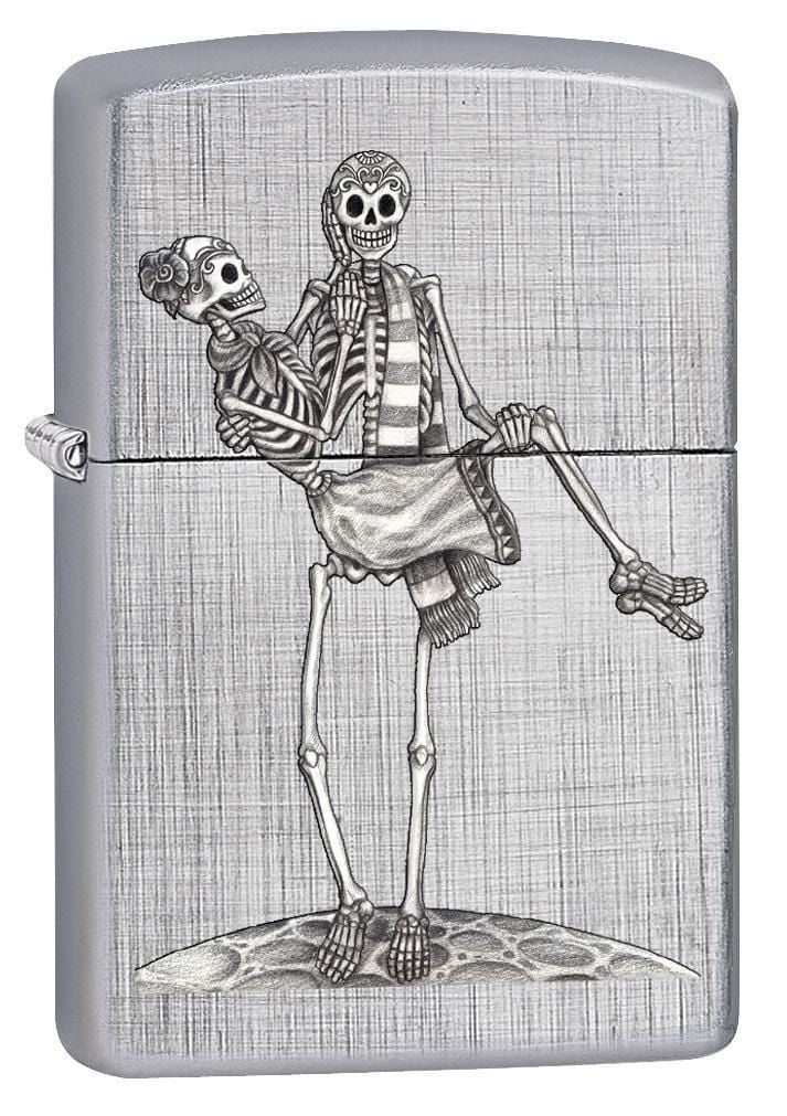 Zippo Lighter: Day of the Dead Skeleton Couple - Linen Weave 78561 - Gear Exec