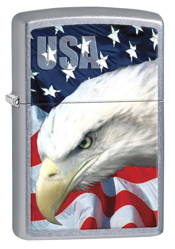 Zippo Lighter: USA Bald Eagle and Flag - Street Chrome 78591